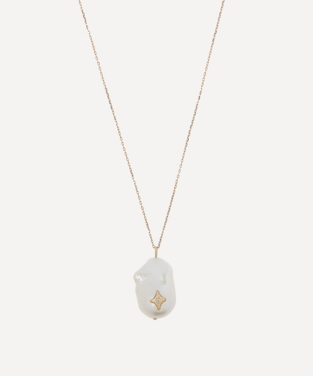 Gold Charlie N°1 Diamond and Pearl Pendant Necklace