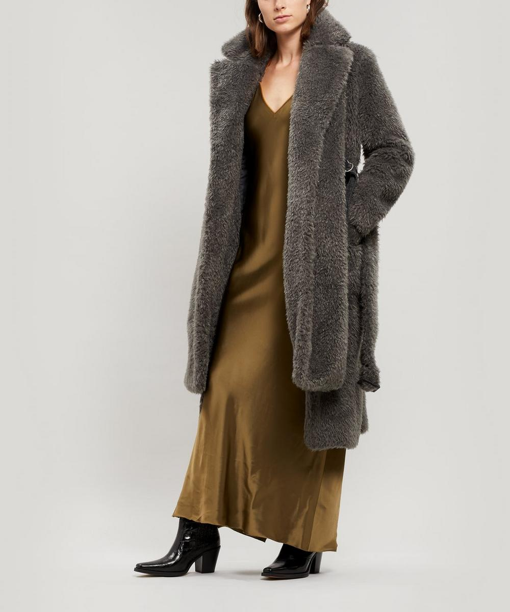 Shaggy Faux-Fur Belted Coat
