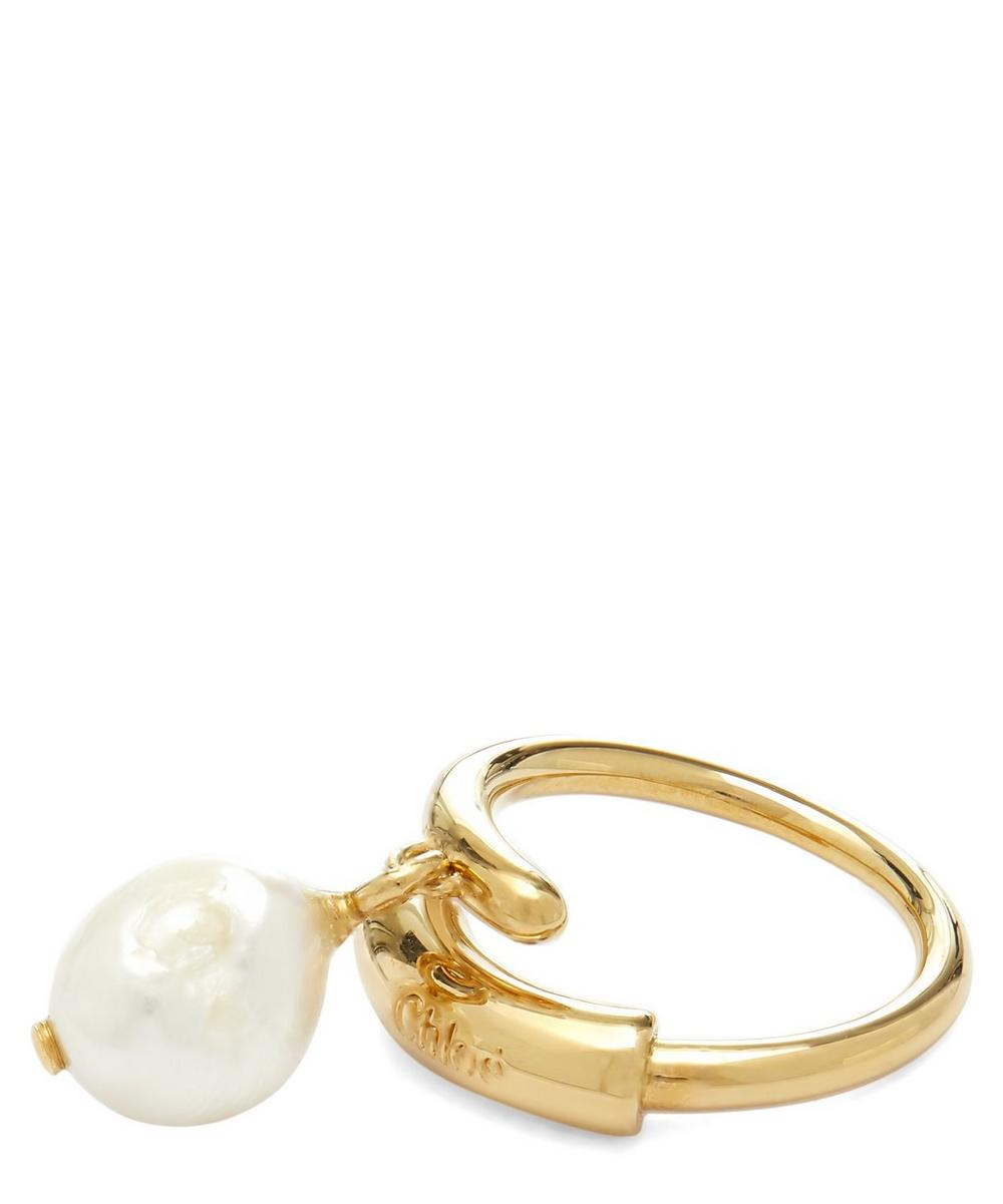 Gold-Tone Darcey Baroque Pearl Drop Ring