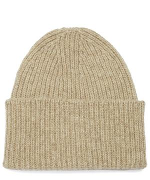 Logo Patch Ribbed Wool Beanie