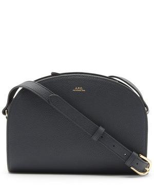 Grained Leather Half Moon Cross-Body Bag