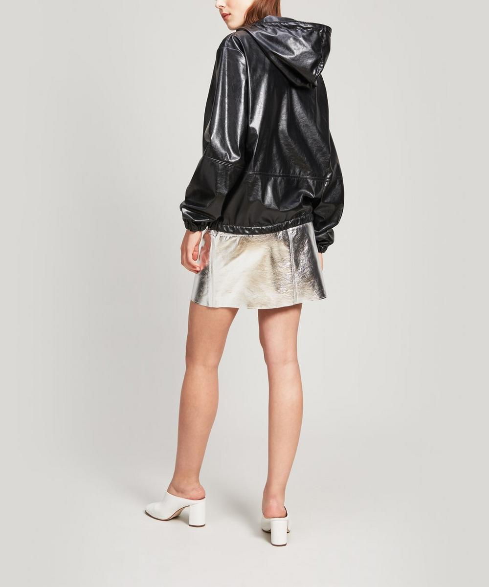 Faux-Leather Hoodie