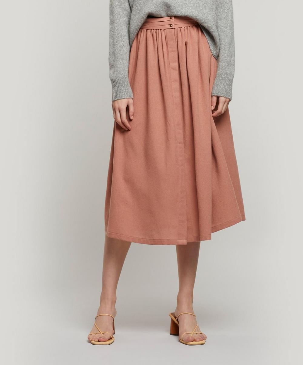 Sessun Mesnil Wool-blend Pleated Midi-skirt In Cameo Rose