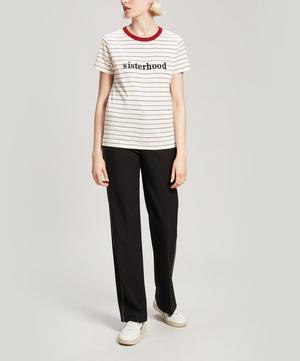 Sisterhood Embroidered Striped Cotton T-Shirt
