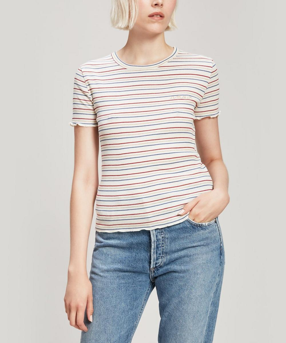 Amour Embroidered Striped Cotton T-Shirt