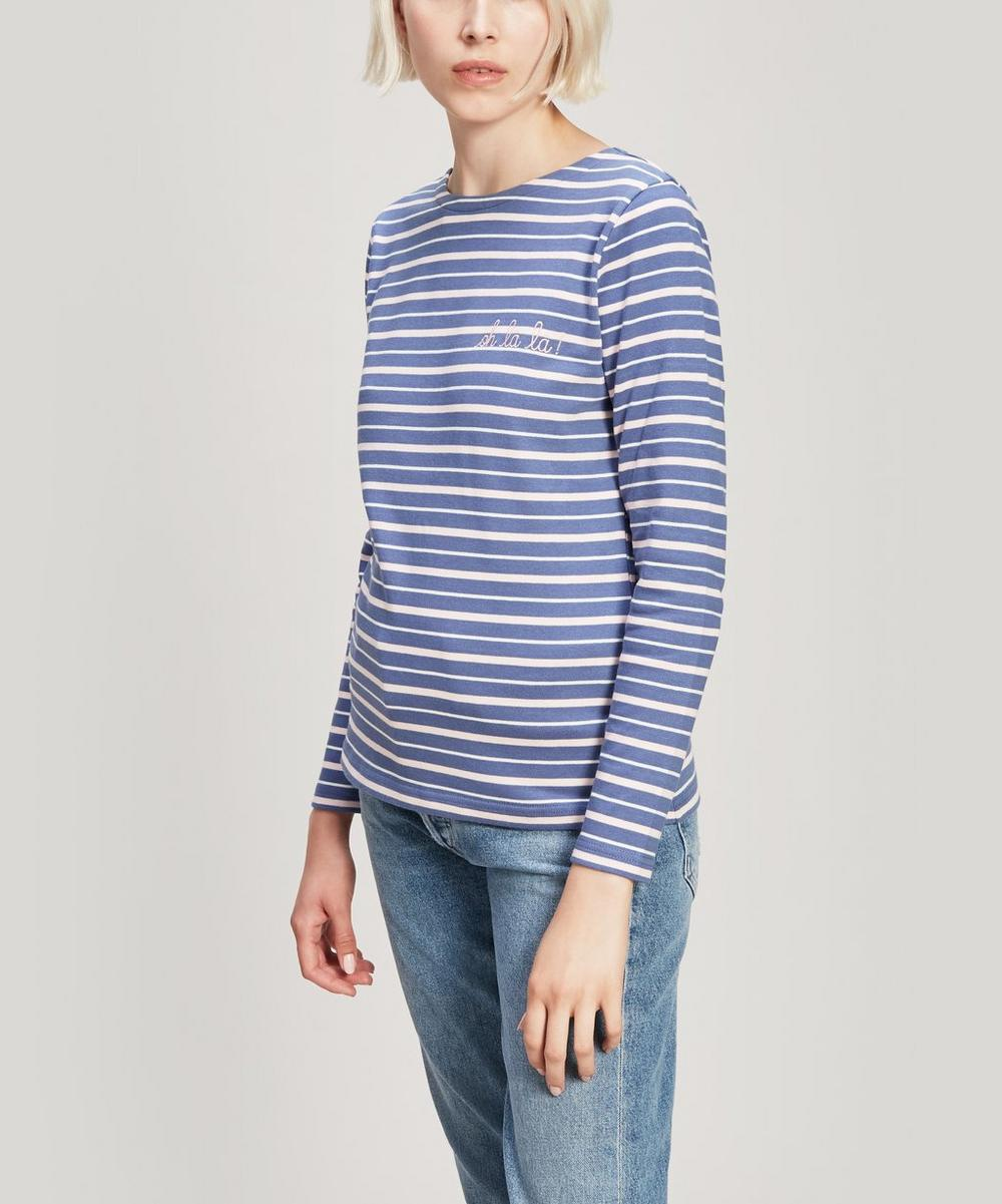 Oh La La Embroidered Striped Cotton Long Sleeve T-Shirt