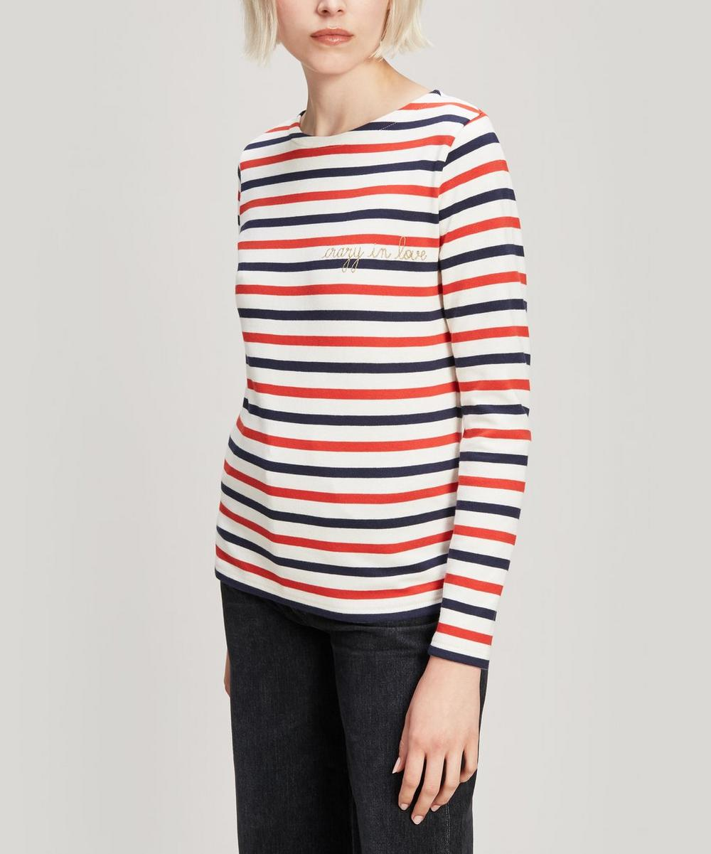 Crazy In Love Embroidered Striped Cotton Long-Sleeve T-Shirt