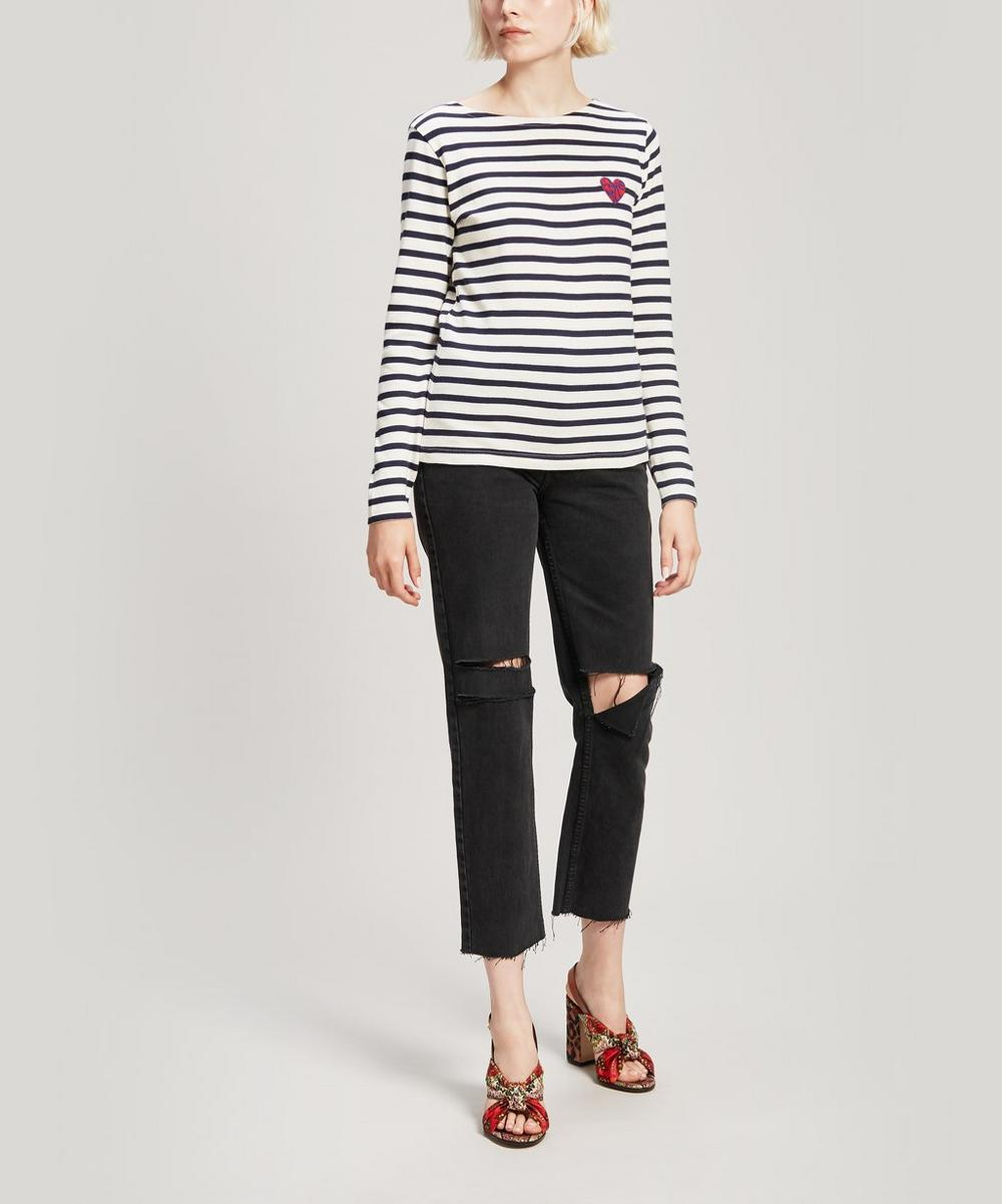 Love Is All Embroidered Striped Cotton Long-Sleeve T-Shirt