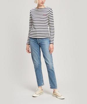 Whatever Embroidered Striped Cotton Long-Sleeve T-Shirt