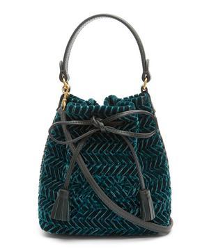 Neeson Mini Drawstring Woven Velvet Bucket Bag