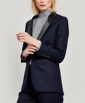 Satin Collar Single-Breasted Italian Wool Jacket