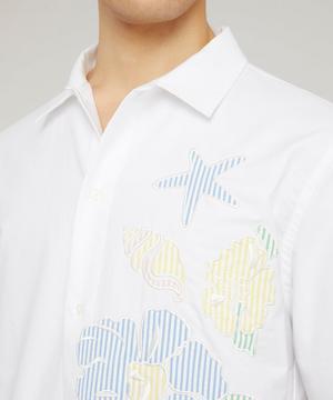 Floral Applique Cotton Oxford Shirt