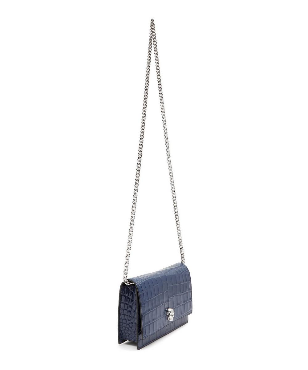 Mini Croc-Effect Leather Skull Cross-Body Bag