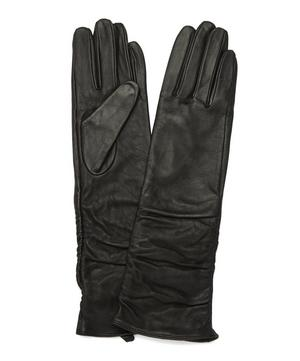 Ruched Leather Gloves