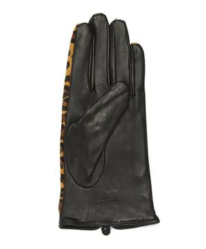 Violet Leopard Print Ponyskin and Leather Gloves