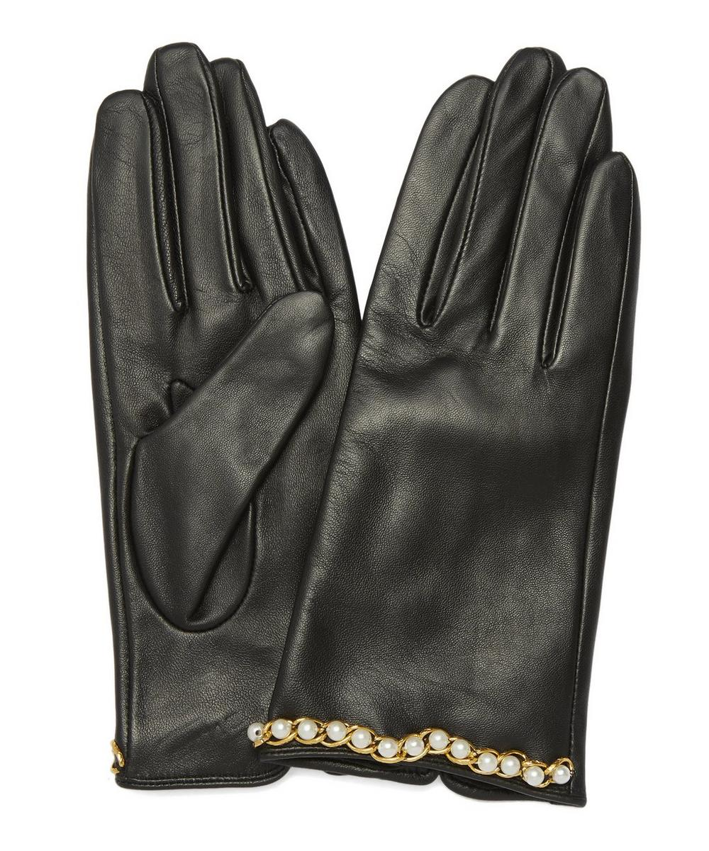 Dorothy Pearl and Chain Leather Gloves