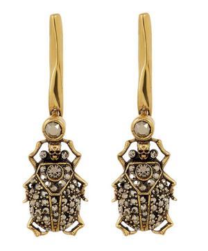 Gold-Tone Crystal Beetle Drop Earrings