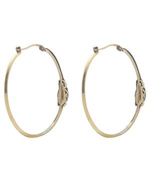Gold-Tone Crystal Beetle Hoop Earrings