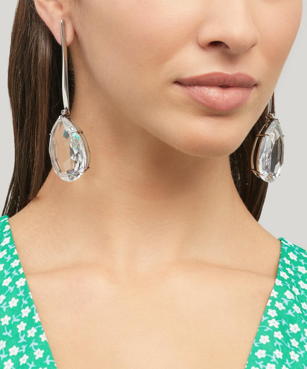 Silver-Tone Crystal Drop Earrings
