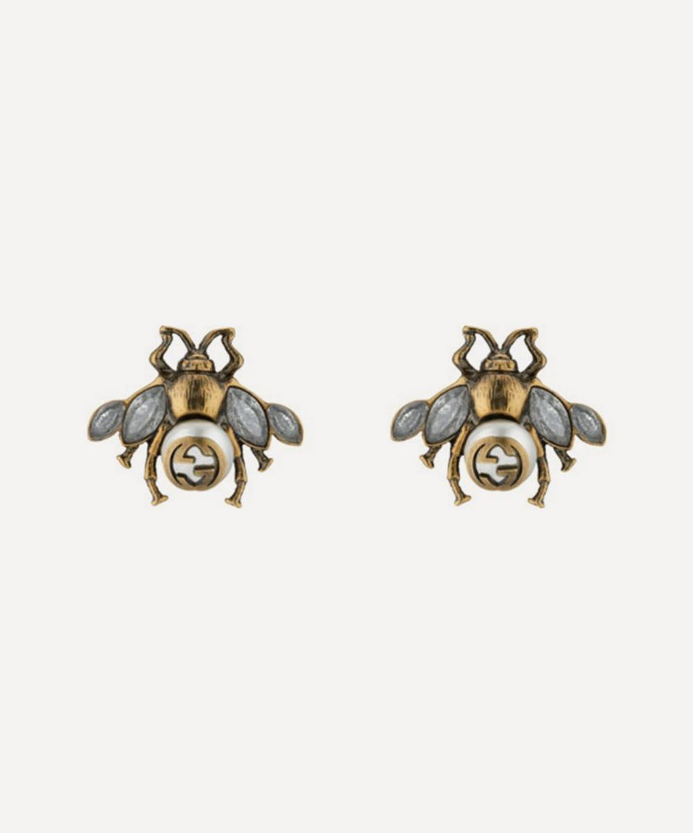Gold-Tone Crystal and Faux Pearl Bee Stud Earrings