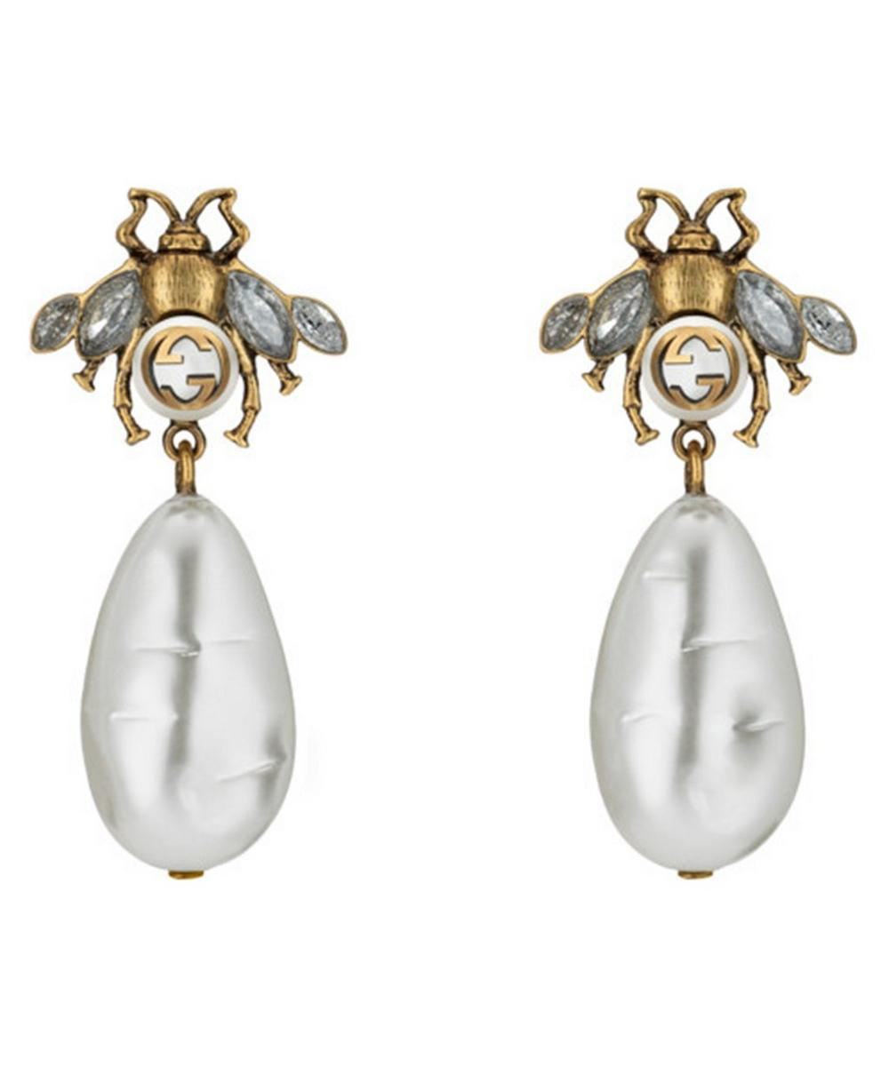 Gucci Gold-Tone Crystal And Faux Pearl Bee Drop Earrings