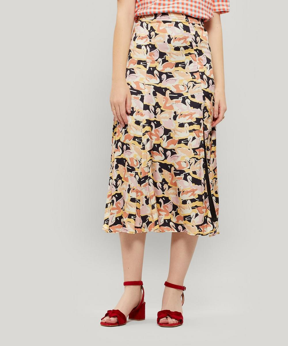 Stine Goya Jada Swan-print Flare Midi-skirt In Swans Black