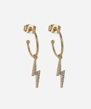 Gold-Plated Cubic Zirconia Lightning Bolt Drop Hoop Earrings