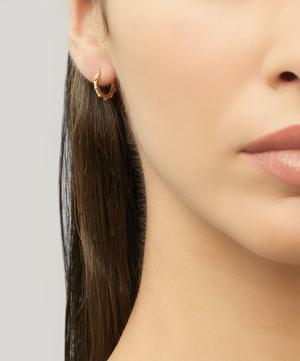 Gold-Plated Granulated Huggie Hoop Earrings