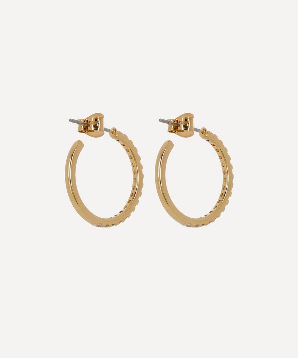 Gold-Plated Pavé Set Cubic Zirconia Large Hoop Earrings