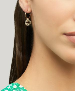 Gold-Plated Starburst Disc Drop Hoop Earrings
