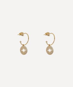 Gold-Plated Starburst Disc Drop Hoop Earrings