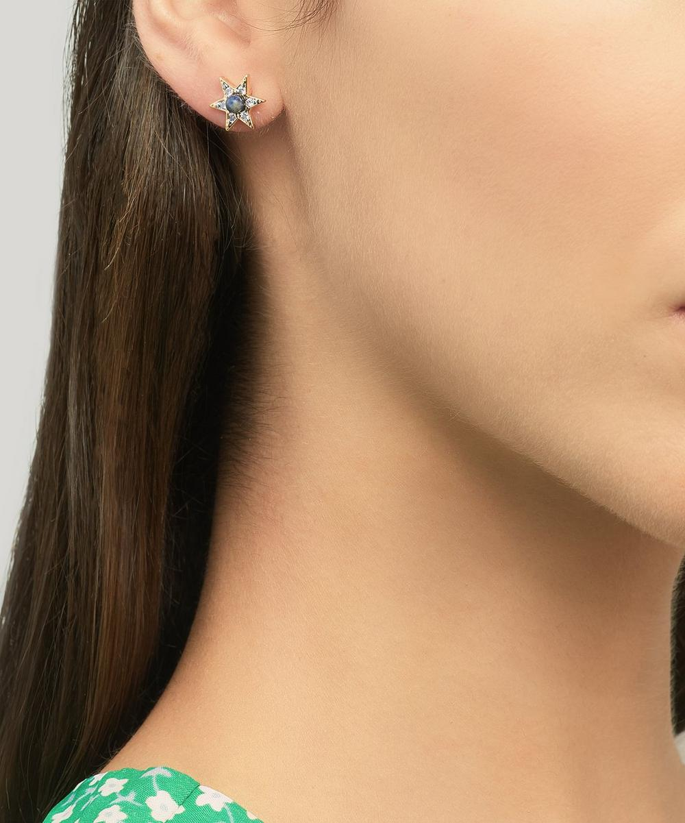 Gold-Plated Howlite and Cubic Zirconia Star Stud Earrings