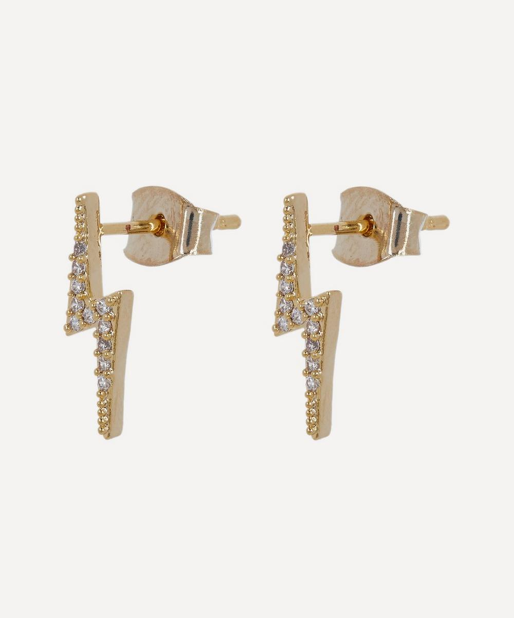 Gold-Plated Cubic Zirconia Lightning Bolt Stud Earrings