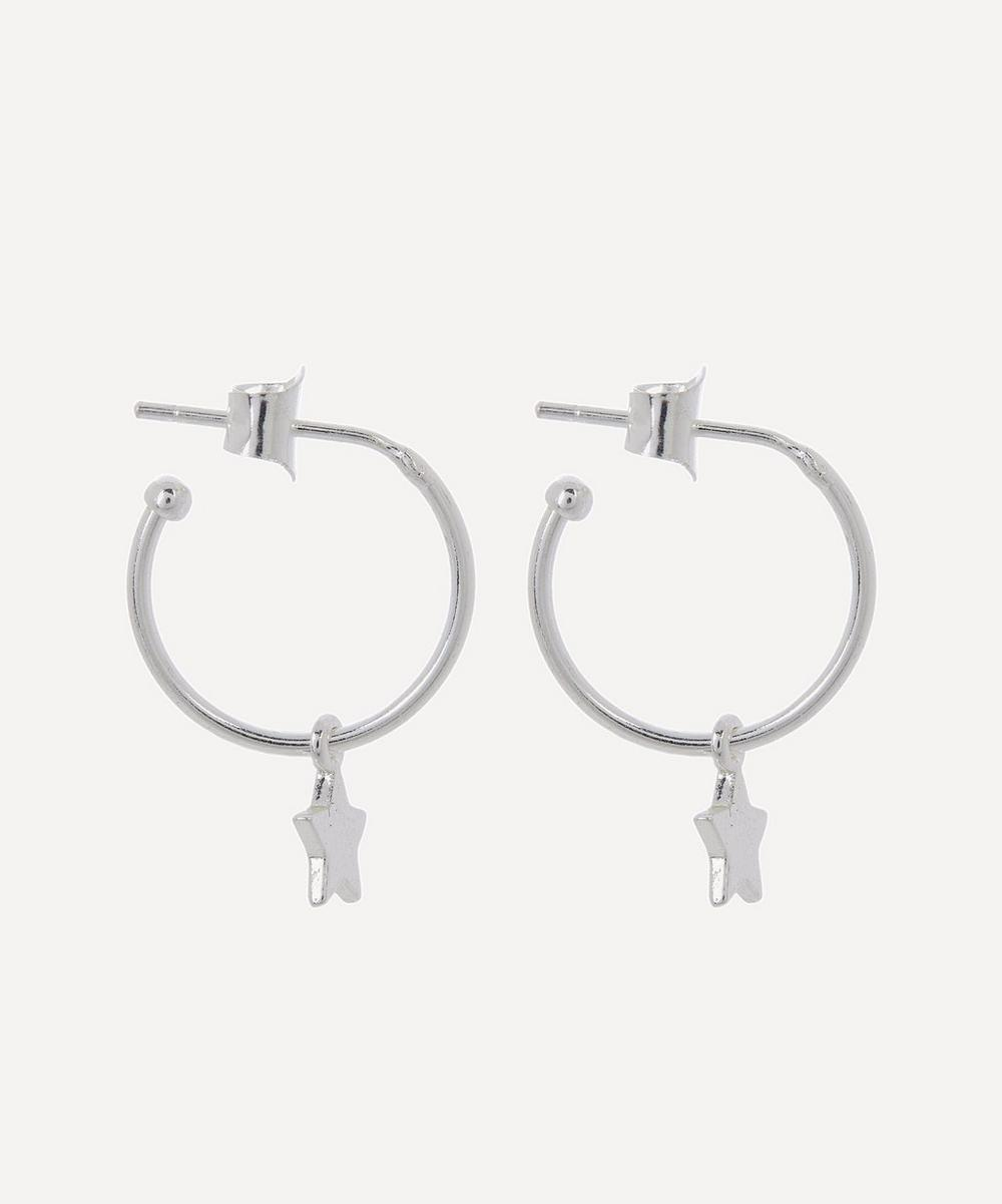 Silver-Plated Star Drop Hoop Earrings