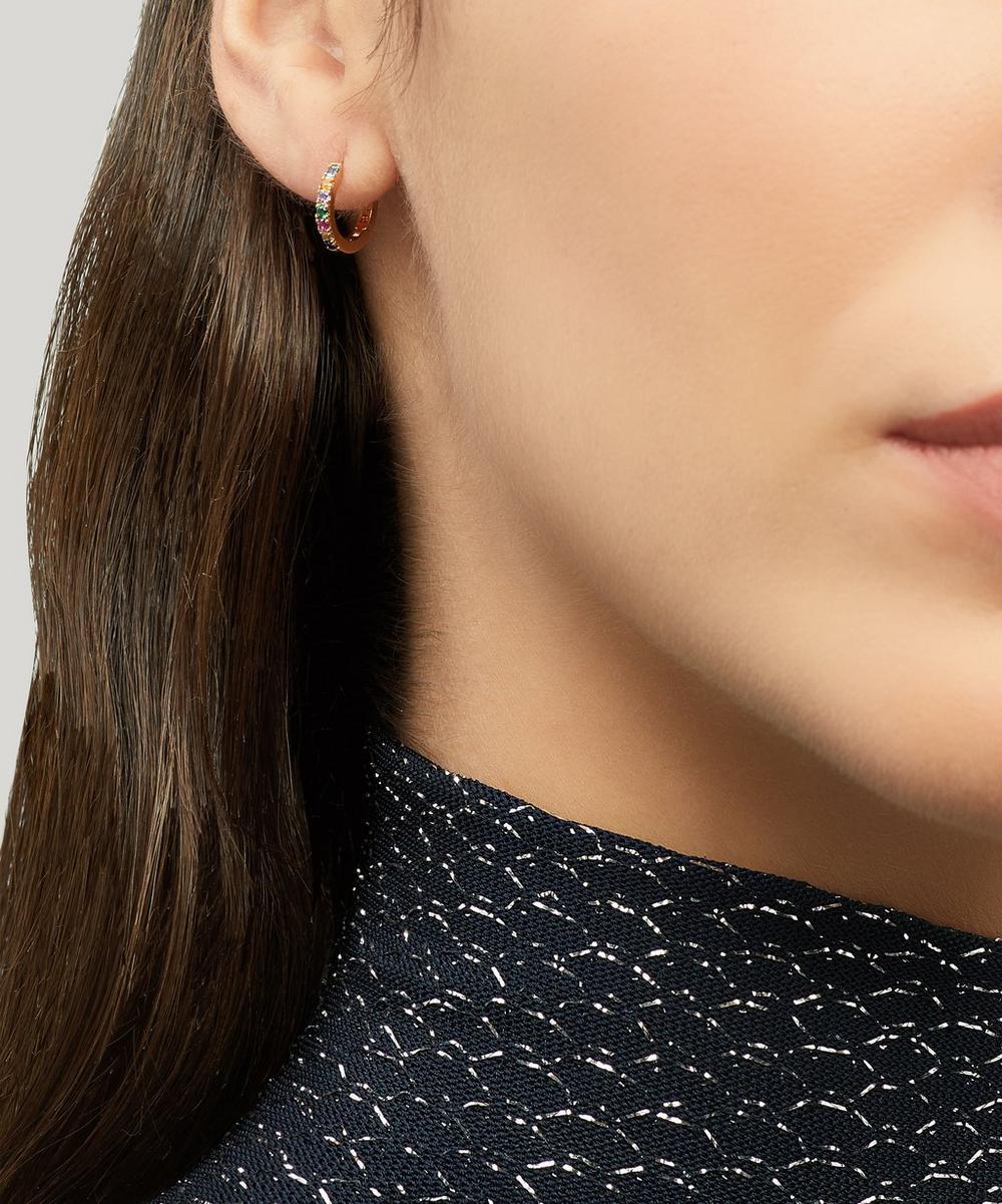 Gold-Plated Pavé Set Cubic Zirconia Huggie Hoop Earrings