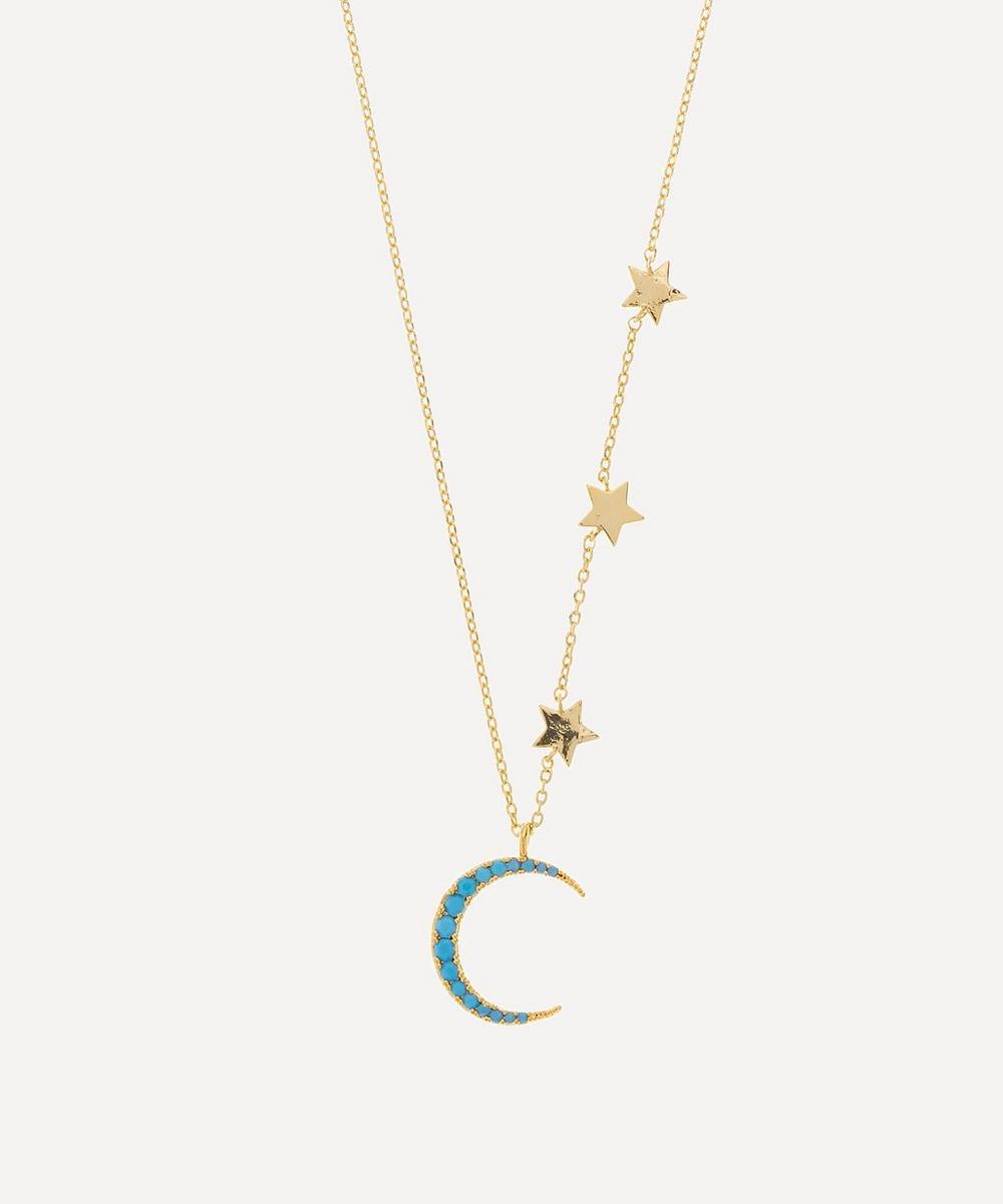 Estella Bartlett - Gold-Plated Moon and Stars Howlite Statement Necklace