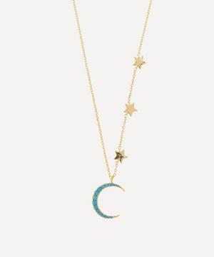 Gold-Plated Moon and Stars Howlite Statement Necklace