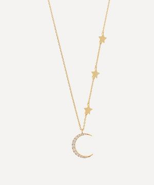 Gold-Plated Moon and Stars Cubic Zirconia Statement Necklace
