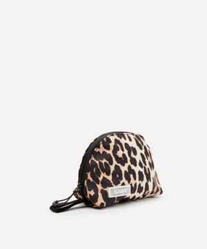 Small Leopard Print Tech Fabric Toiletry Bag
