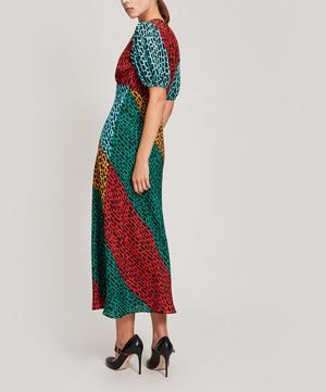 Amber Giraffe Short-Sleeve Midi-Dress