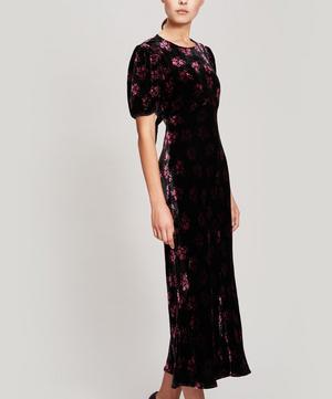 Daisy Velvet Open-Back Midi-Dress