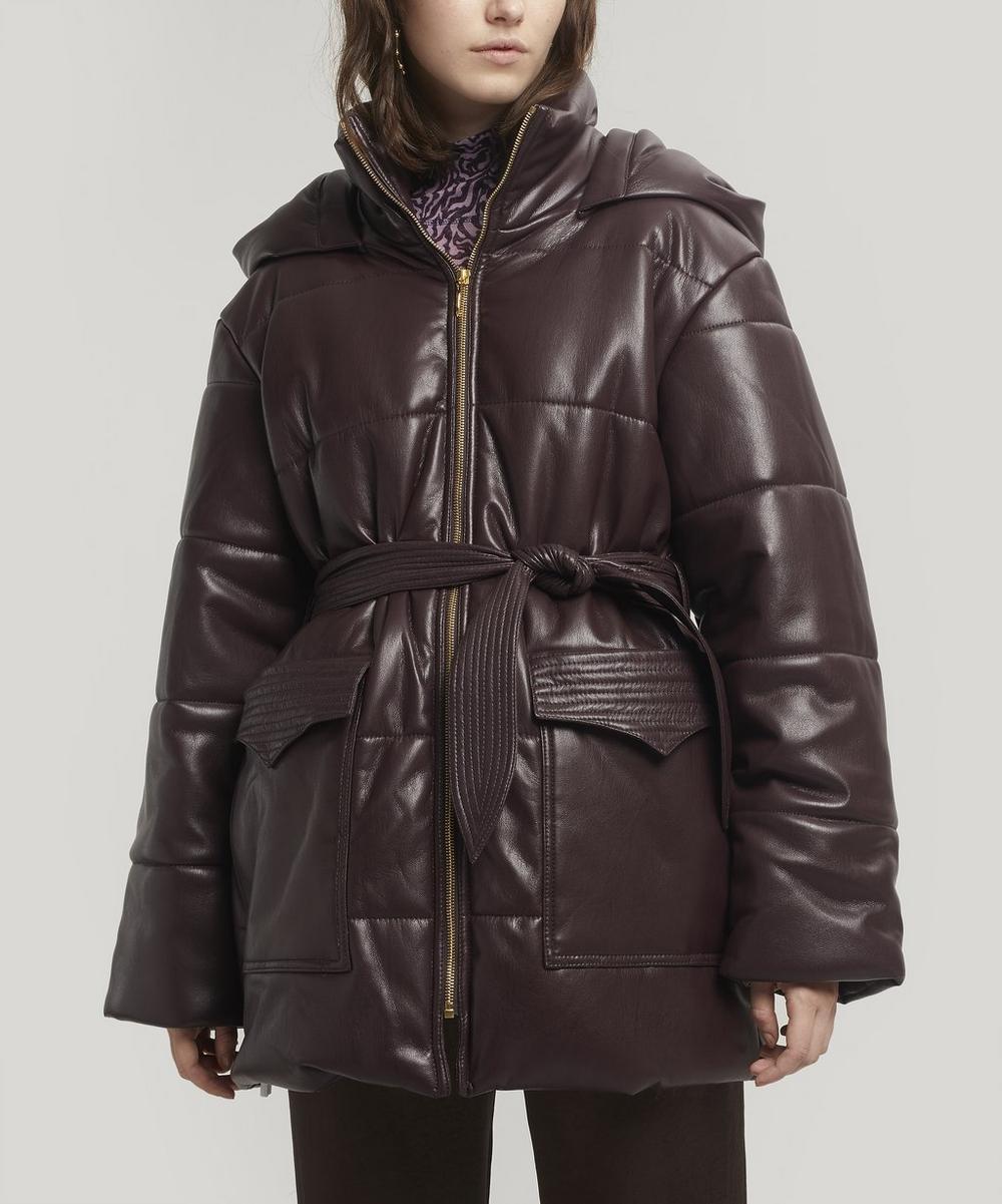 Lenox Belted Vegan Leather Puffer Jacket