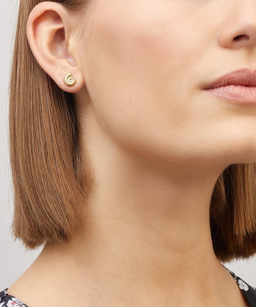 Gold-Plated Ammonite Shell Stud Earrings