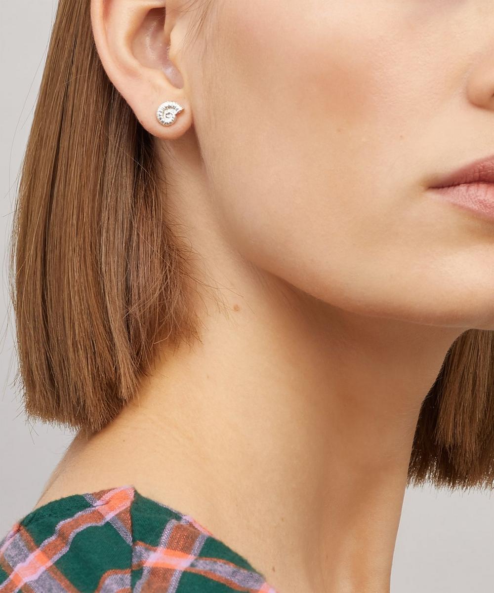 Silver Ammonite Shell Stud Earrings