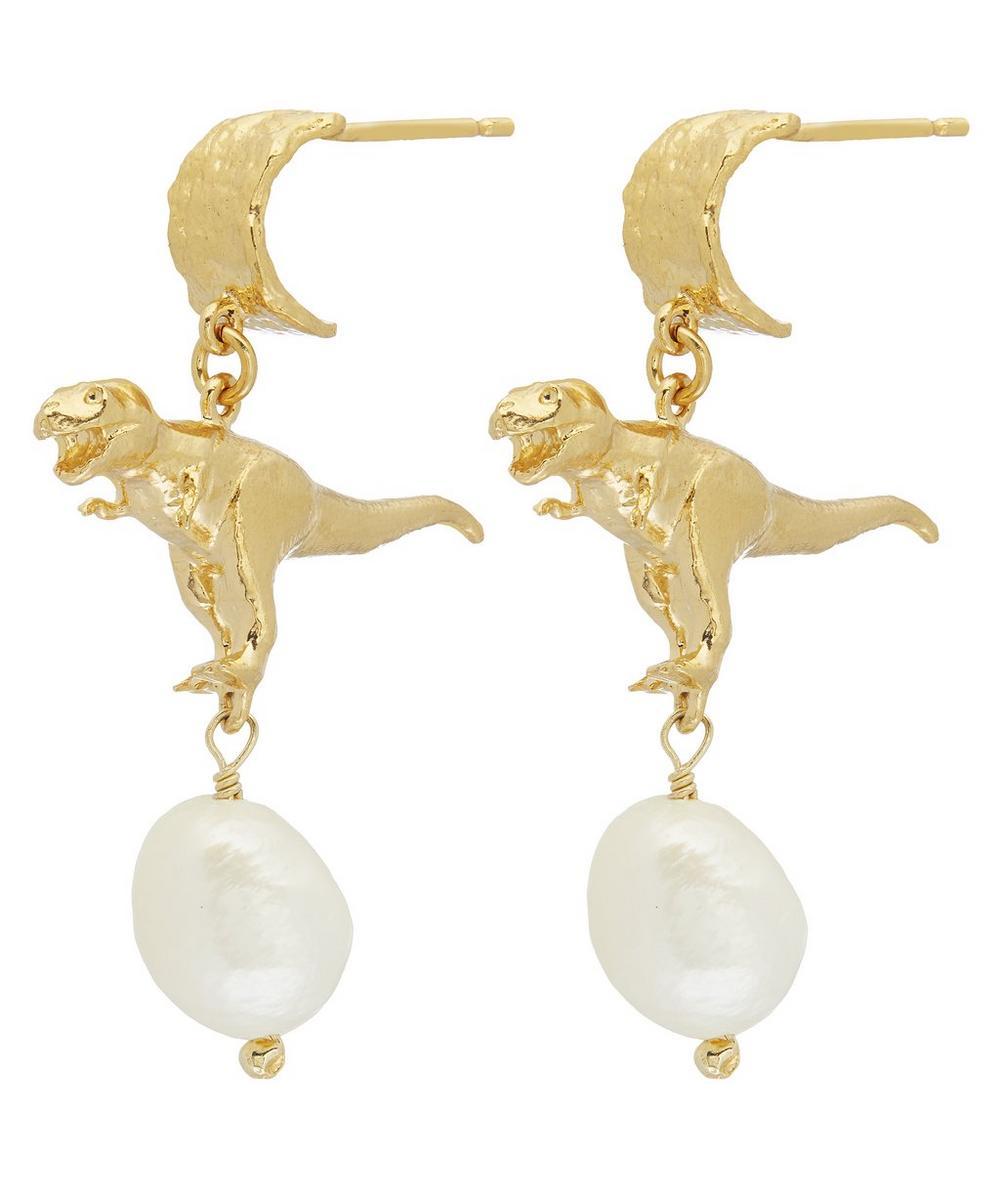 Gold-Plated Tyrannosaurus Rex Baroque Pearl Drop Earrings