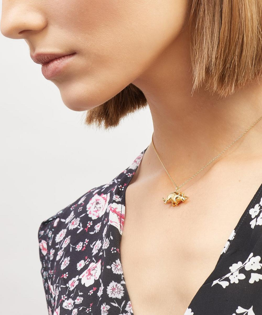 Gold-Plated Triceratops Pendant Necklace