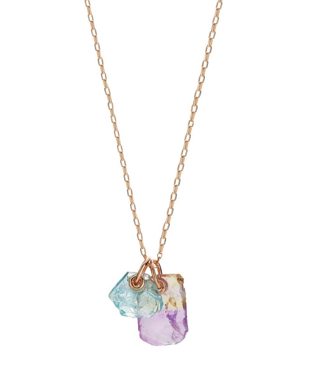 Monica Vinader Accessories X CAROLINE ISSA ROSE GOLD VERMEIL AMETRINE AND AQUAMARINE DOUBLE PENDANT NECKLACE
