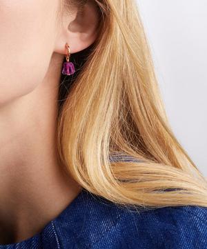 x Caroline Issa Rose Gold Vermeil Pink Quartz Huggie Hoop Earrings