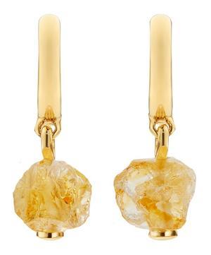 x Caroline Issa Gold Vermeil Citrine Huggie Hoop Earrings
