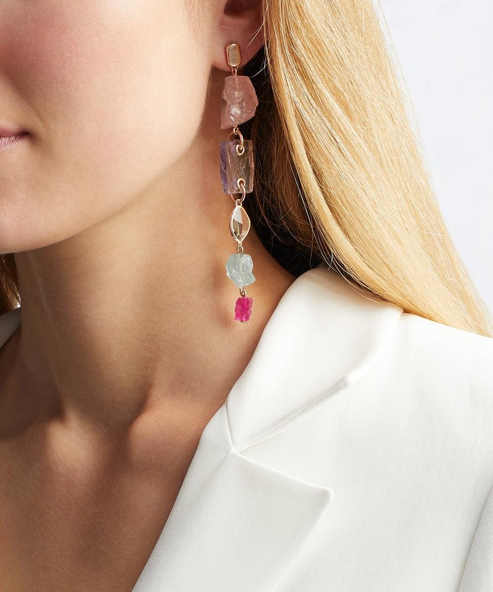 x Caroline Issa Rose Gold Vermeil Multi-Stone Cocktail Earrings